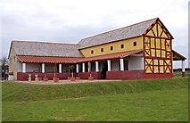 SJ5608 : Wroxeter Roman City (15) - The replica Villa Urbana by P L Chadwick