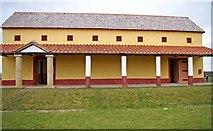SJ5608 : Wroxeter Roman City (16) - front of the replica Villa Urbana by P L Chadwick