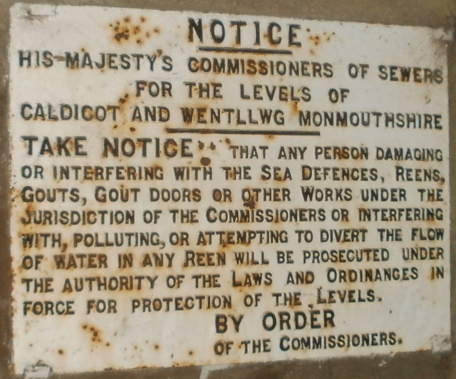 Commissioners of Sewers notice, Redwick