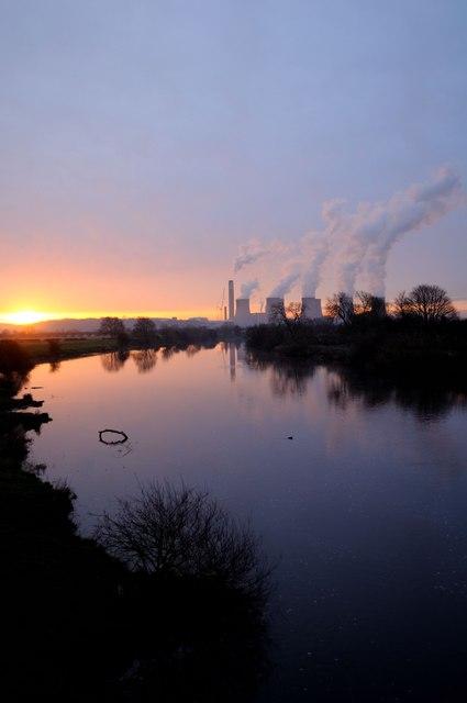 Sunrise over River Trent from Sawley Bridge