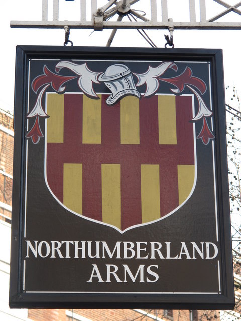 Sign for the Northumberland Arms, Tottenham Court Road / Grafton Way, W1