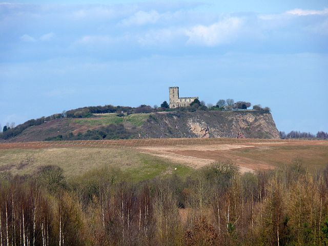 A distant view of the church at Breedon on the Hill