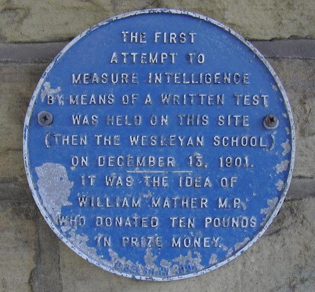 Blue Plaque- World's First IQ Test, Haslingden Health Centre