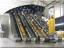 TQ3780 : Escalators at Canary Wharf station by Rod Allday