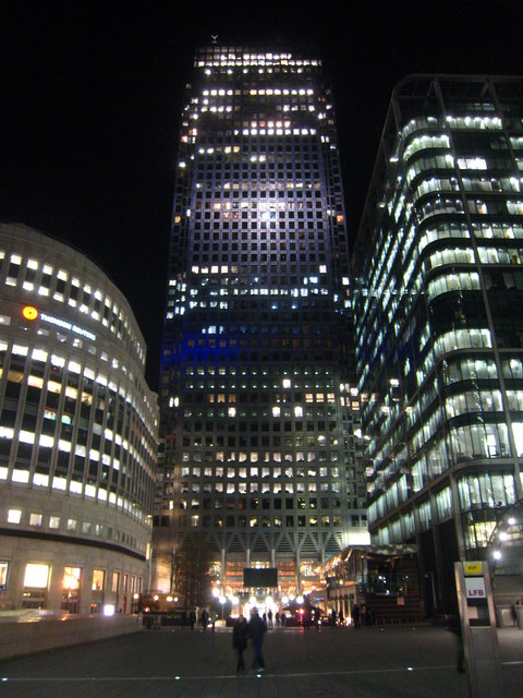 One Canada Square by night