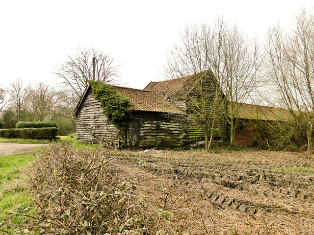 Old wooden farm buildings at South Grange, Sibton