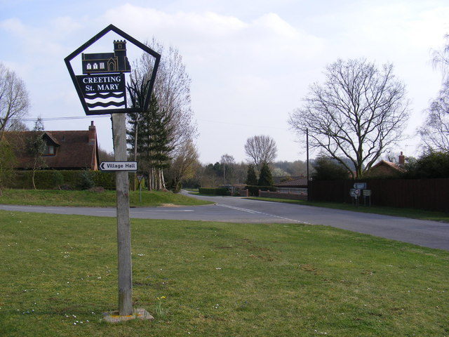 Creeting St.Mary Village Sign & Jack's Green Road