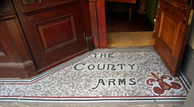 """Mosaic floor, entrance to """"The County Arms"""", Wandsworth"""