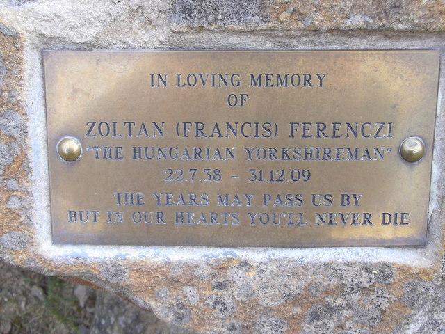 """Memorial Plaque """"Zoltan (Francis) Ferenczi"""""""