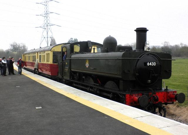 GWR Auto-train terminates at the new West Somerset Railway platform, near Norton Fitzwarren