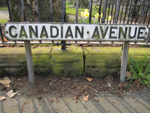 'Canadian Avenue' street sign and a bench mark