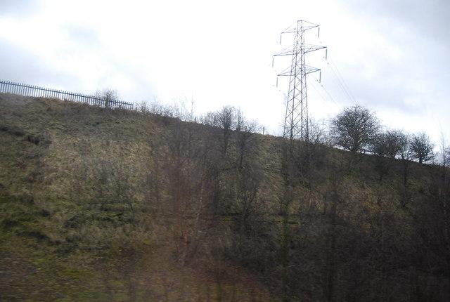Pylon by the East Coast Main Line near Stone Bridge.