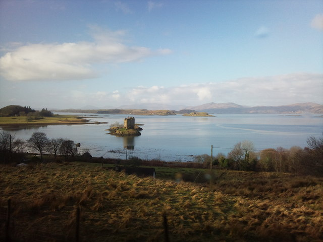 Castle Stalker taken from the A828 on the way to Oban by Coach