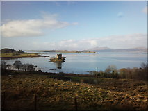 NM9247 : Castle Stalker taken from the A828 on the way to Oban by Coach by Leslie