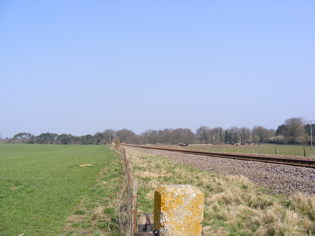 Looking along the railway to Saxmundham