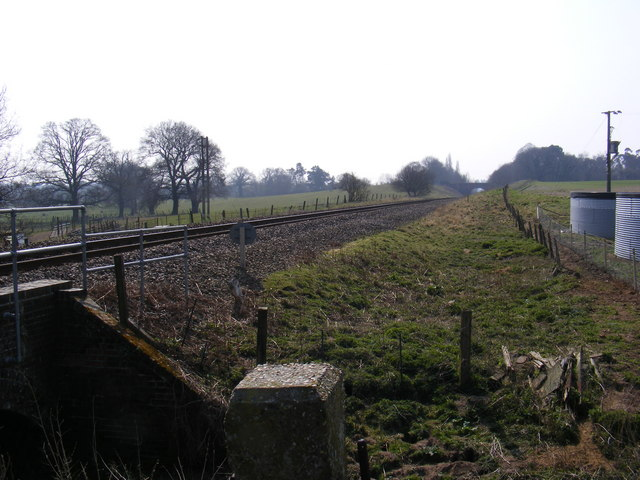 Looking along the railway to Wickham Market