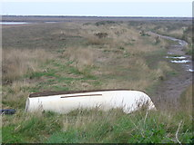 TG0345 : Boat on Blakeney Marshes by Colin Smith