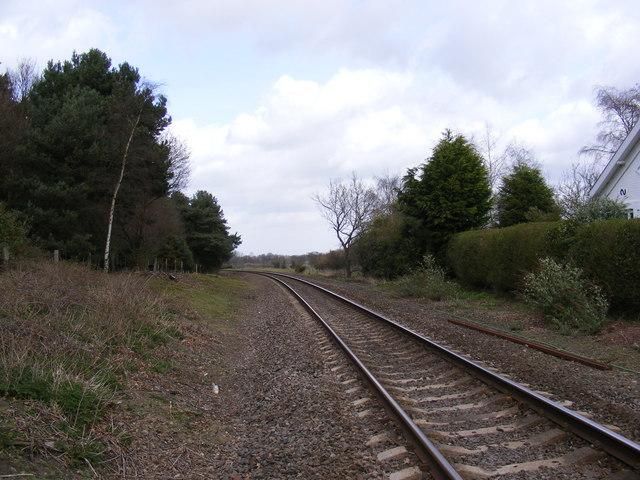 Railway line to Saxmundham Railway Station