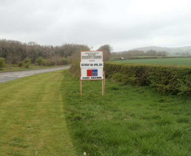 Sign advertising agricultural sale near Five Lanes, Monmouthshire