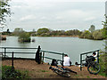 TQ5186 : Fishing lake, Eastbrookend Country Park by Robin Webster