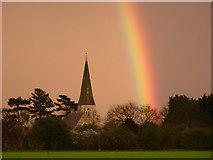 SK8770 : Rainbow and All Saints' church by Richard Croft