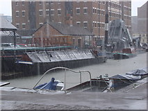 SO8218 : Very Heavy rain at Gloucester Docks by Rob Newman
