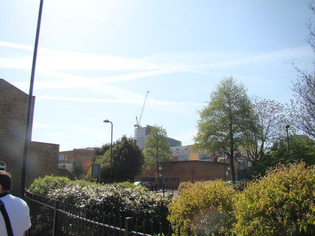 View of construction work beyond Sturt Street, viewed from Shepherdess Walk