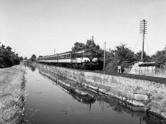 Train beside Royal Canal Leixlip