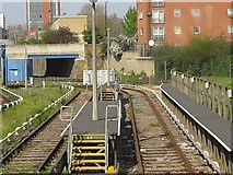 TQ3880 : Stabling sidings, Docklands Light Railway depot, Poplar by Peter Whatley