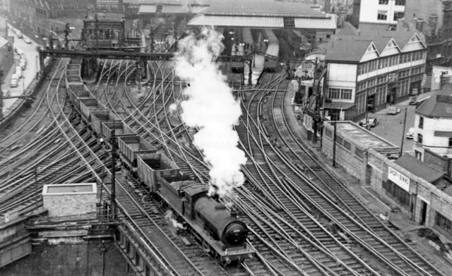 East end of Newcastle Central Station from Castle Keep, with northbound empties