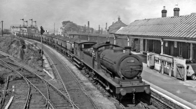 Bedlington Station (remains), with Up coal train