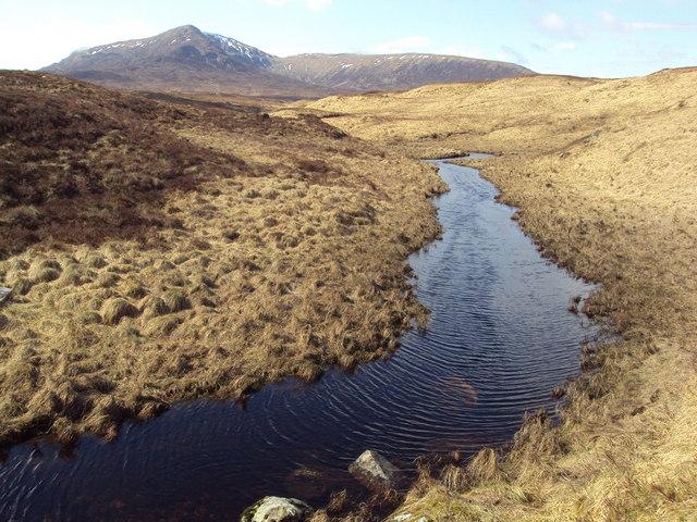 Burn feeding Loch Ossian, looking towards Beinn a' Bhric