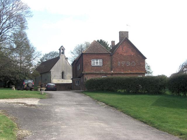 Catmore Farm and church