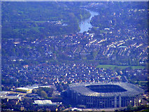 TQ1474 : Twickenham Stadium and the Thames from the air by Thomas Nugent