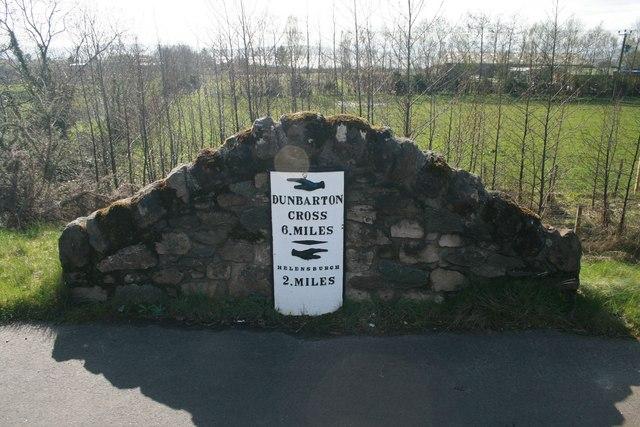 Milestone at Colgrain, near Helensburgh