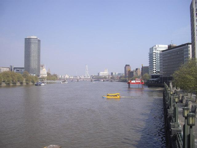London Duck tour entering the River Thames