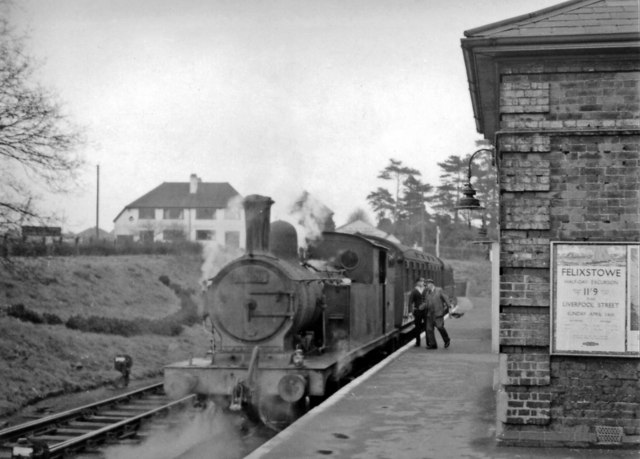 Ongar Station, with push-&-pull train to Epping