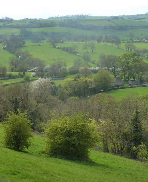 Lower slopes of Parwich Hill and countryside views beyond