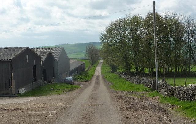 Lane past Hilltop Farm - downhill view