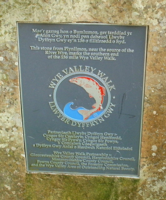 Plaque on stone at southern end of Wye Valley Walk, Chepstow