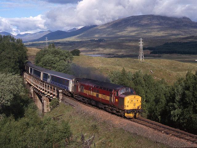 Caledonian Sleeper train at Achallader