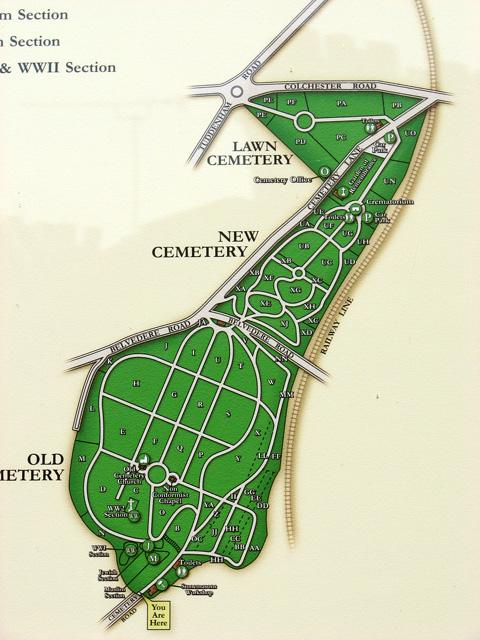 Ipswich Borough Council cemetery - layout plan