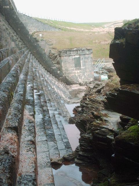 Aled Isaf dam, spillway steps.