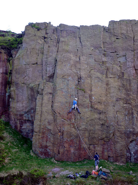 Climbers on The Prow, Wilton One quarry