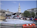 TQ3080 : Temporary Stage in Trafalgar Square by PAUL FARMER