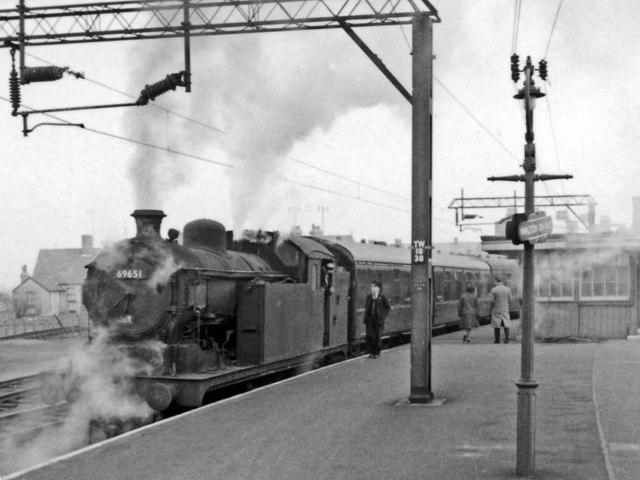 Walton-on-Naze Station with steam train during the period of local electrification