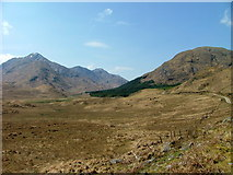 NM9891 : Moorland and the track to Glen Pean and Glen Dessary by Dave Fergusson