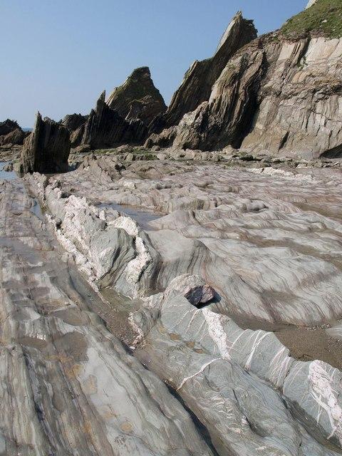 Wave-cut platform, Westcombe Beach