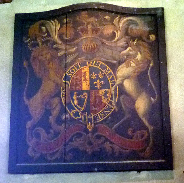Royal coat of arms, St Anthony's Church, Cartmel Fell