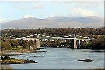 SH5571 : Menai Suspension Bridge from Anglesey by Christine Matthews